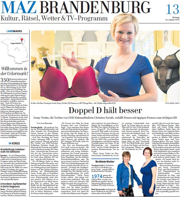 Artikel über Doppel D und Inhaberin Jenny Trettin in der MAZ Brandenburg