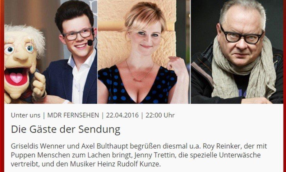 Jenny Trettin zu Gast in der MDR Sendung Unter Uns